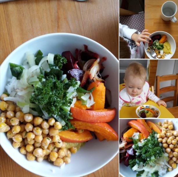 Buddha bowl s cizrnou, pečenou zeleninou, kadeřávkem a zálivkou z tahini